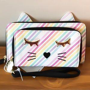 Betsey Johnson Rainbow Cat Wristlet